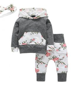Floral Hoodie and Pants Set for Girl