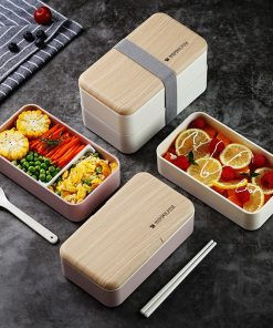 Double Layer Lunchbox with Spoon and Bag