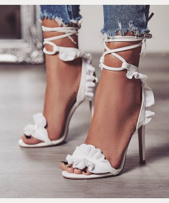 Lace-Crossed High-Heeled Shoes