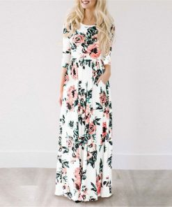 Long Dress with Floral Print for Woman