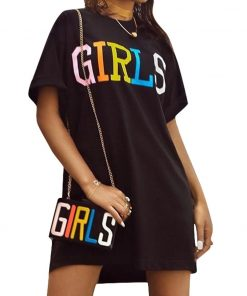 Straight Dress with Girls Rainbow Letters Print